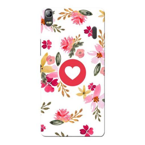 Floral Heart Lenovo K3 Note Mobile Cover