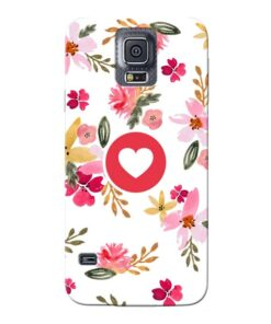 Floral Heart Samsung Galaxy S5 Mobile Cover