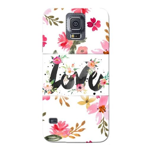 Flower Love Samsung Galaxy S5 Mobile Cover
