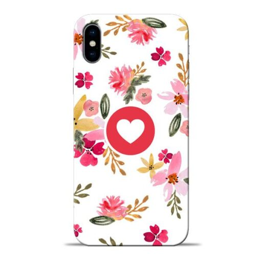Floral Heart Apple iPhone X Mobile Cover