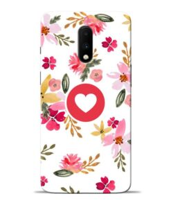 Floral Heart Oneplus 7 Mobile Cover