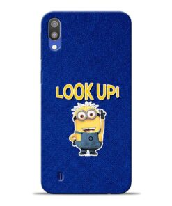 Look Up Minion Samsung M10 Mobile Cover