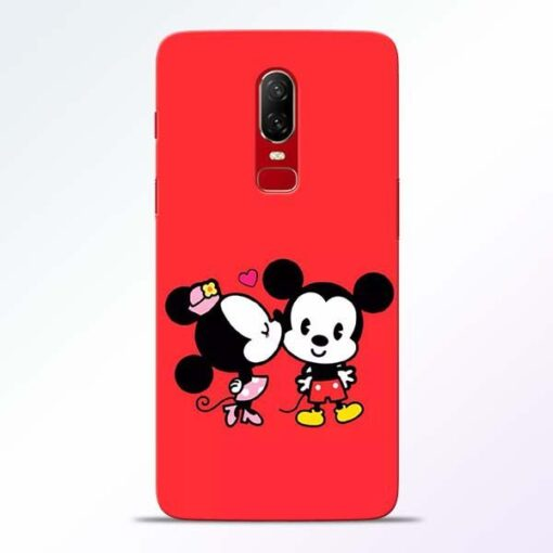 Red Cute Mouse OnePlus 6 Mobile Cover