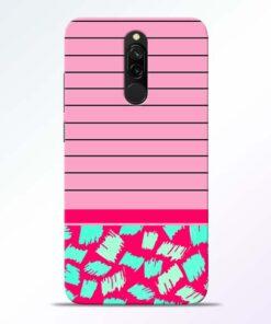 Pink Stripes Redmi 8 Mobile Cover
