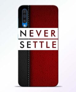 Red Never Settle Samsung A50 Mobile Cover - CoversGap