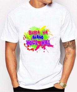 Bura Na Mano Half Sleeve Holi T shirt - White