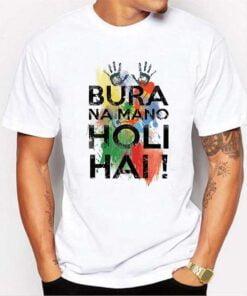 Bura Na Mano Print Holi T shirt - White