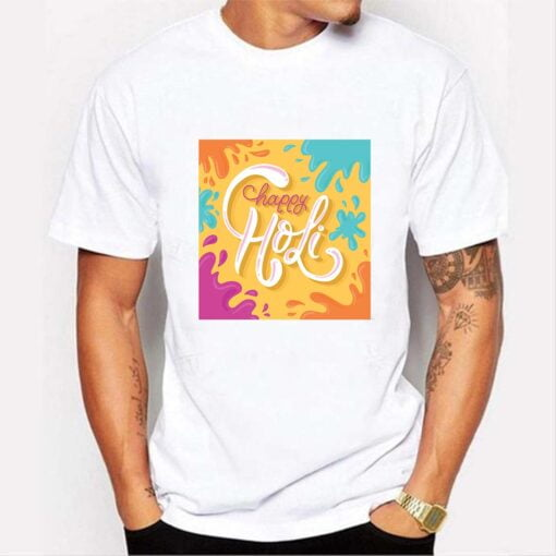 Color Spread Holi T shirt - White