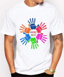 Colorful Hand Holi T shirt - White