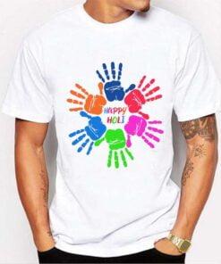 Colorful Hand Holi T shirt - White
