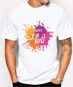 Colorful Holi T shirt - White