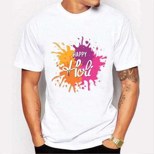 Colorful Holi T shirt - White