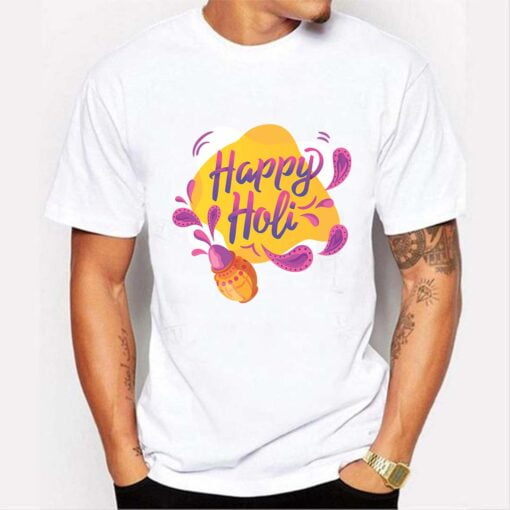 Happy Wali Holi T shirt - White
