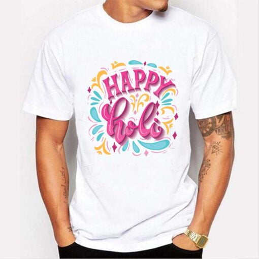 White Happy Holi T shirt - White