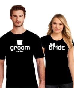 Cute Groom Bride Couple T shirt