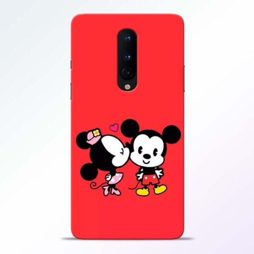 Red Cute Mouse OnePlus 8 Mobile Cover