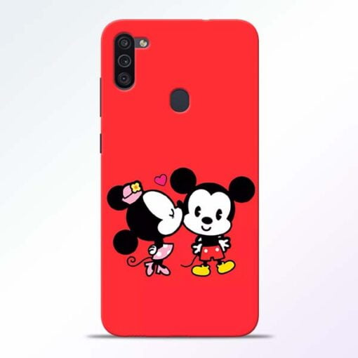 Red Cute Mouse Samsung M11 Mobile Cover - CoversGap
