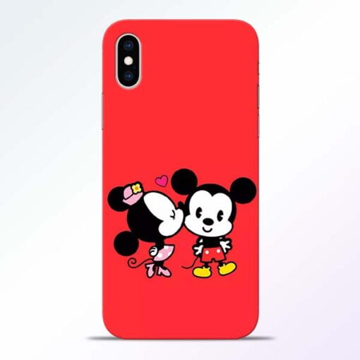 Red Cute Mouse iPhone XS Mobile Cover