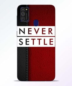 Red Never Settle Samsung M21 Mobile Cover