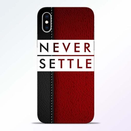 Red Never Settle iPhone XS Mobile Cover