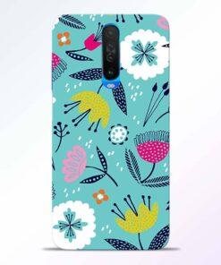 Aqua Blue Floral Poco X2 Back Cover