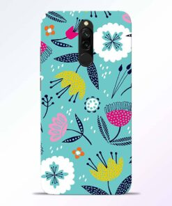 Aqua Blue Floral Redmi 8 Back Cover