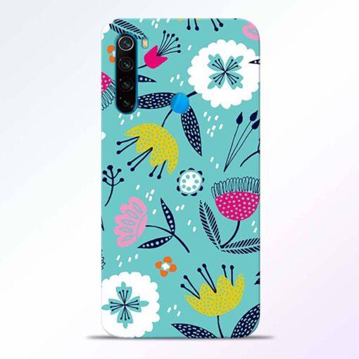 Aqua Blue Floral Redmi Note 8 Back Cover