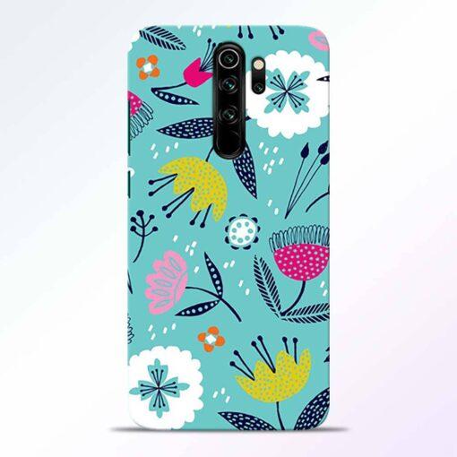 Aqua Blue Floral Redmi Note 8 Pro Back Cover