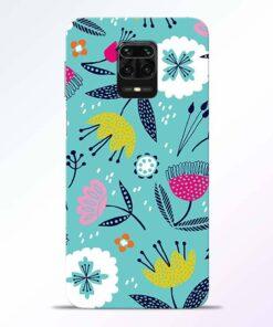 Aqua Blue Floral Redmi Note 9 Pro Back Cover