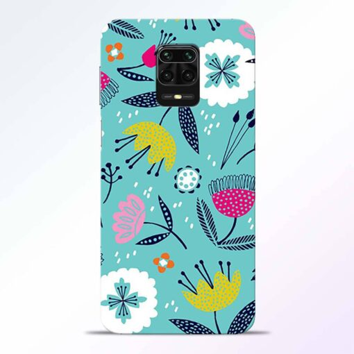 Aqua Blue Floral Redmi Note 9 Pro Back Cover