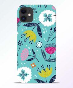 Aqua Blue Floral iPhone 11 Back Cover