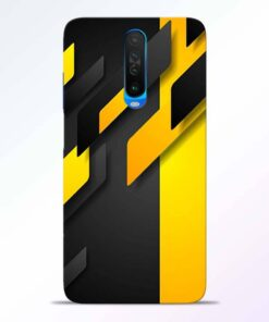 Black Yellow Poco X2 Back Cover