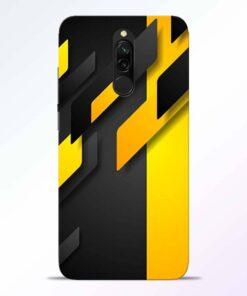 Black Yellow Redmi 8 Back Cover