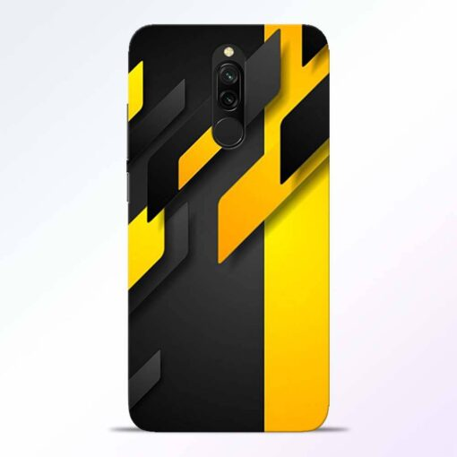 Black Yellow Redmi 8 Back Cover