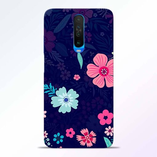 Blue Floral Poco X2 Back Cover