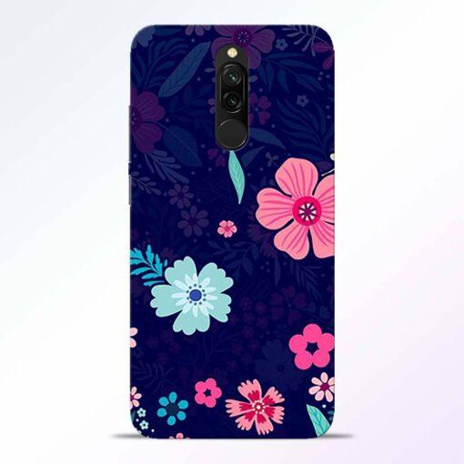 Blue Floral Redmi 8 Back Cover