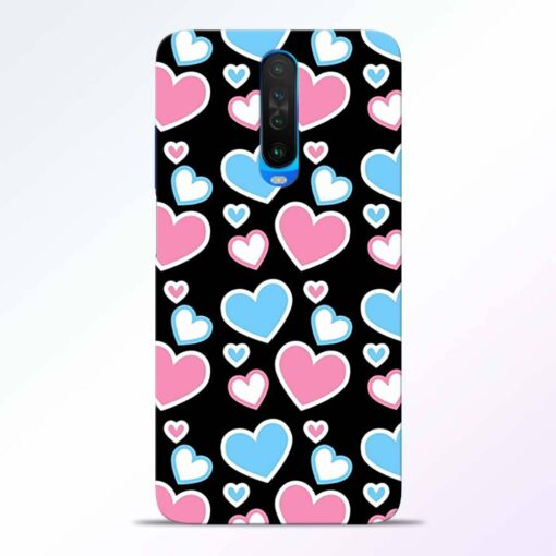 Pink Hearts Poco X2 Back Cover
