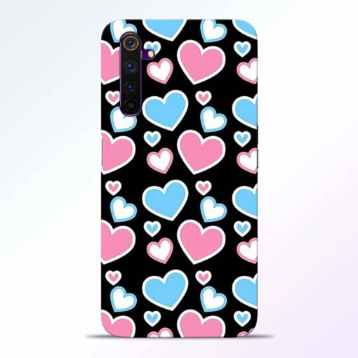 Pink Hearts Realme 6 Pro Back Cover