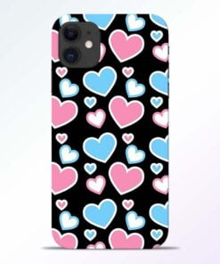 Pink Hearts iPhone 11 Back Cover