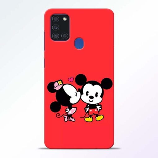 Red Cute Mouse Samsung Galaxy A21s Mobile Cover - CoversGap