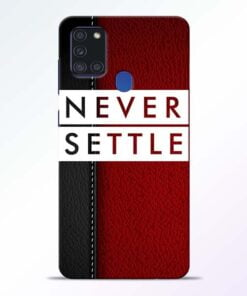 Red Never Settle Samsung Galaxy A21s Mobile Cover - CoversGap