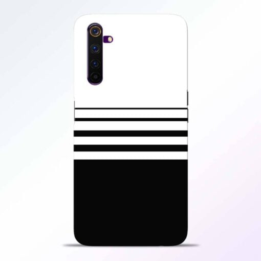 White Strip Realme 6 Back Cover