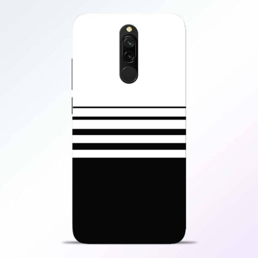 White Strip Redmi 8 Back Cover