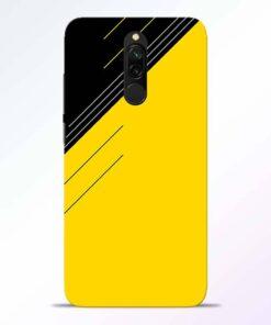 Yellow Black Pattern Redmi 8 Back Cover
