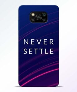Blue Never Settle Poco X3 Back Cover - CoversGap