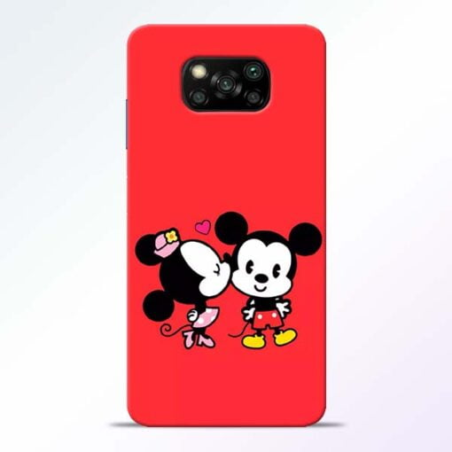 Red Cute Mouse Poco X3 Back Cover - CoversGap