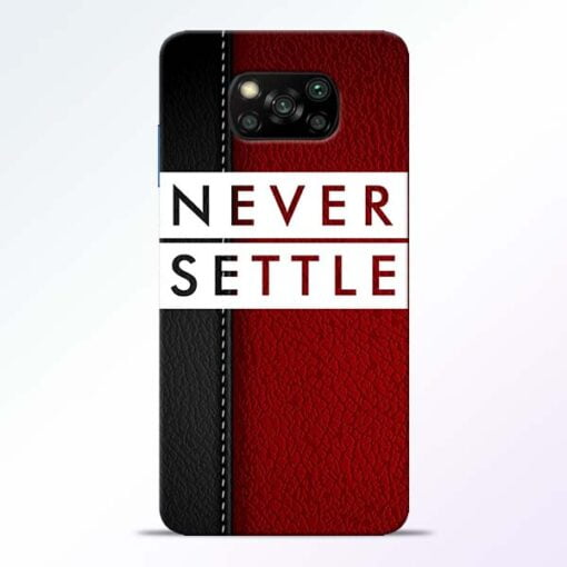 Red Never Settle Poco X3 Back Cover - CoversGap