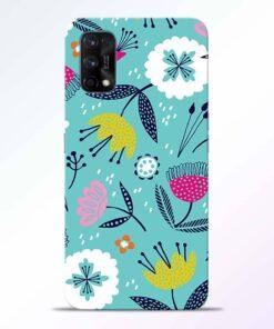 Aqua Blue Floral Realme 7 Pro Back Cover