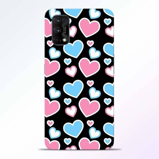 Pink Hearts Realme 7 Pro Back Cover