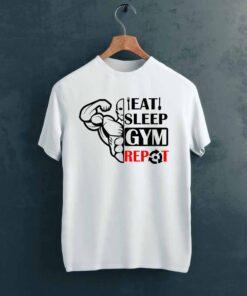 Eat Sleep Gym T shirt on Hanger